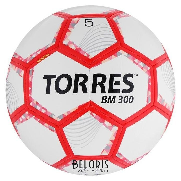Мяч футбольный Torres BM 300, размер 5, 28 панелей, глянцевый Tpu, 2 подкладочных слоя, машинная сшивка, цвет белый/серебряный/красный Torres