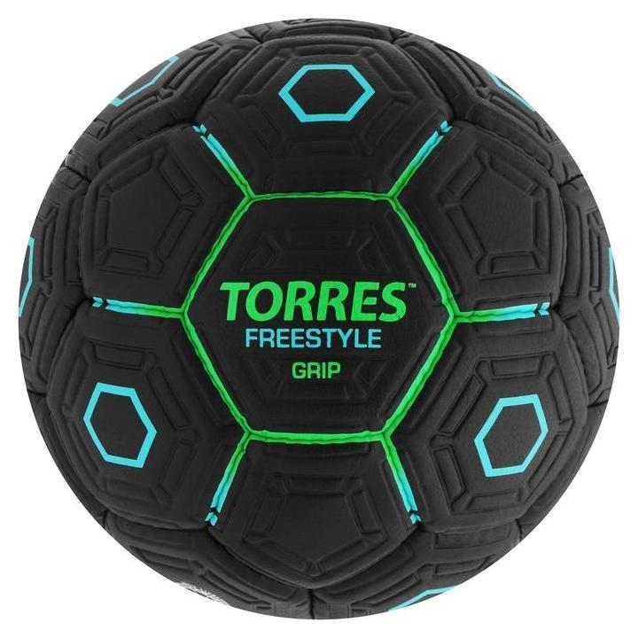 Мяч футбольный Torres Freestyle Grip, размер 5, 32 панели, PU, ручная сшивка, цвет чёрный/зелёный/голубой Torres