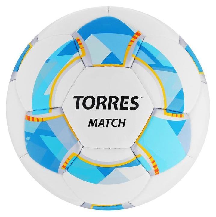 Мяч футбольный Torres Match, размер 5, 32 панели, PU, 4 подкладочных слоя, ручная сшивка, цвет белый/синий/жёлтый Torres