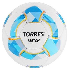 Мяч футбольный Torres Match, размер 4, 32 панели, PU, 4 подкладочных слоя, ручная сшивка, цвет белый/синий/жёлтый
