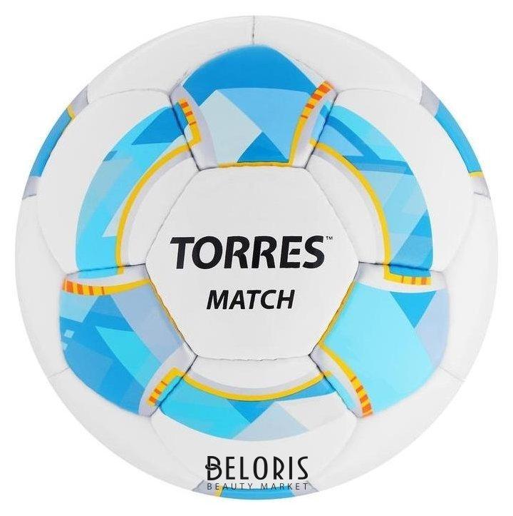 Мяч футбольный Torres Match, размер 4, 32 панели, PU, 4 подкладочных слоя, ручная сшивка, цвет белый/синий/жёлтый Torres