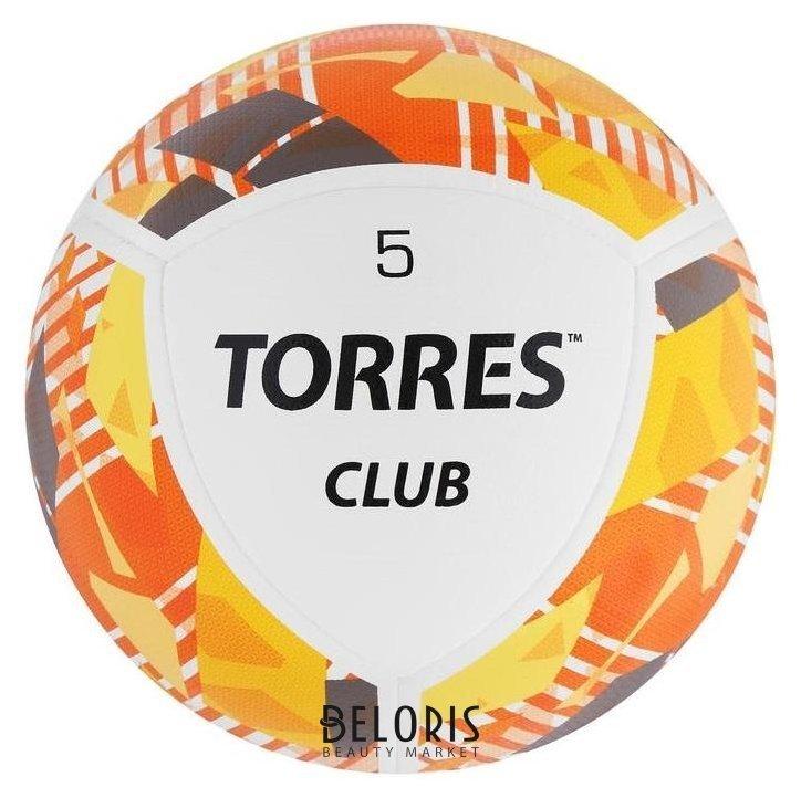 Мяч футбольный Torres Club, размер 5, 10 панелей, PU, гибридная сшивка, цвет бежевый/оранжевый/серый Torres