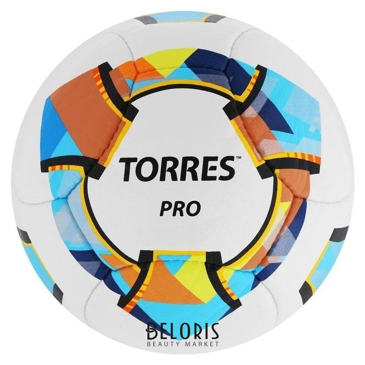 Мяч футбольный Torres Pro, размер 5, 14 панелей, PU, 4 подкладочных слоя, ручная сшивка, цвет белый/синий/жёлтый Torres