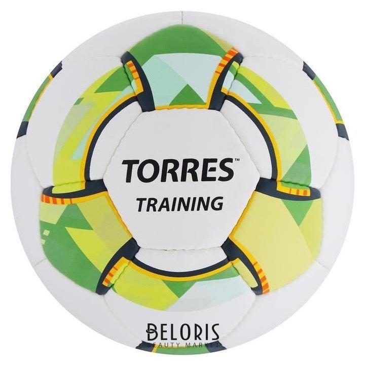 Мяч футбольный Torres Training, размер 5, 32 панели PU, 4 подкладочных слоя, ручная сшивка, цвет белый/зелёный Torres