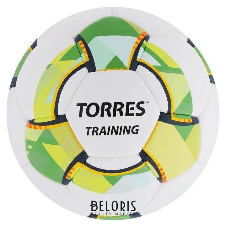 Мяч футбольный Torres Training, размер 4, 32 панели, PU, 4 подкладочных слоя, ручная сшивка, цвет белый/зелёный Torres