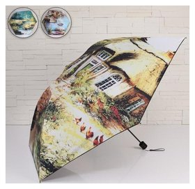 Зонт жен мех R46 4сл 6спиц П/Э аutumn Colors руч круг