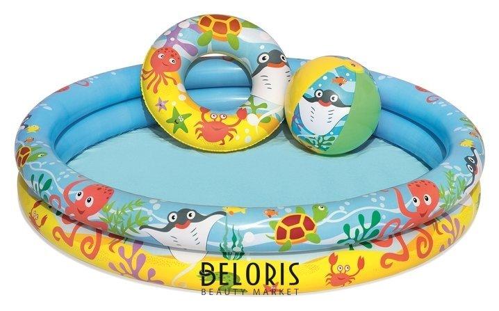 Бассейн надувной «Рыбки», 3 предмета: бассейн, мяч, круг, 122 х 20 см, от 2 лет, 51124 Bestway Bestway