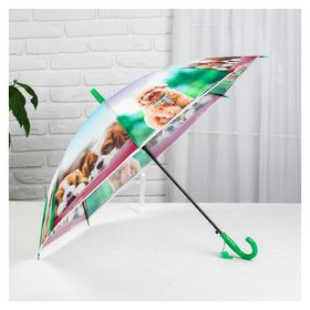 Зонт детский полуавтоматический «Милые зверюшки», R=41см, со свистком