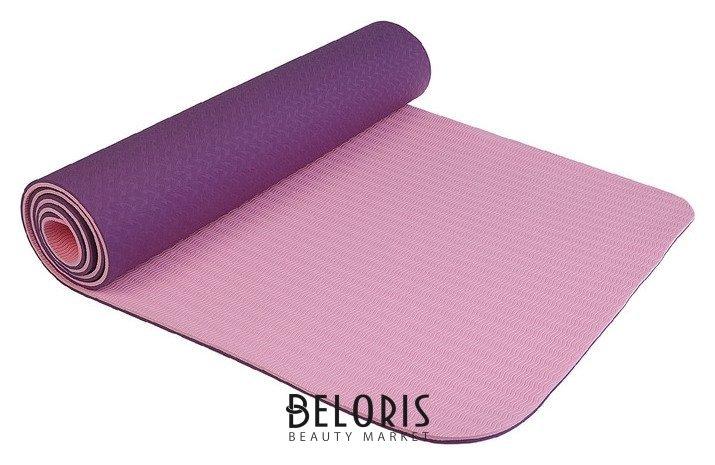 Коврик для йоги 183 × 61 × 0,8 см, двухцветный, цвет фиолетовый Sangh