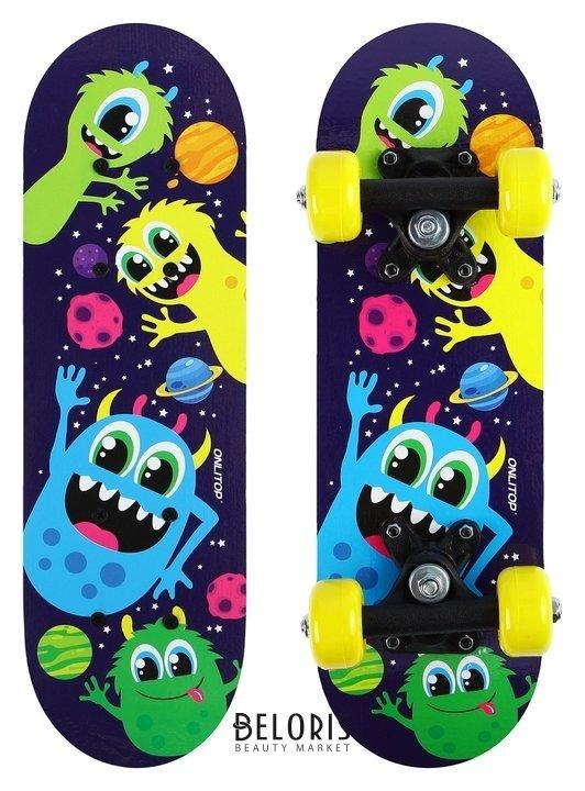 Скейтборд детский «Чёртики» 44х14 см, колёса PVC D=50 мм Onlitop