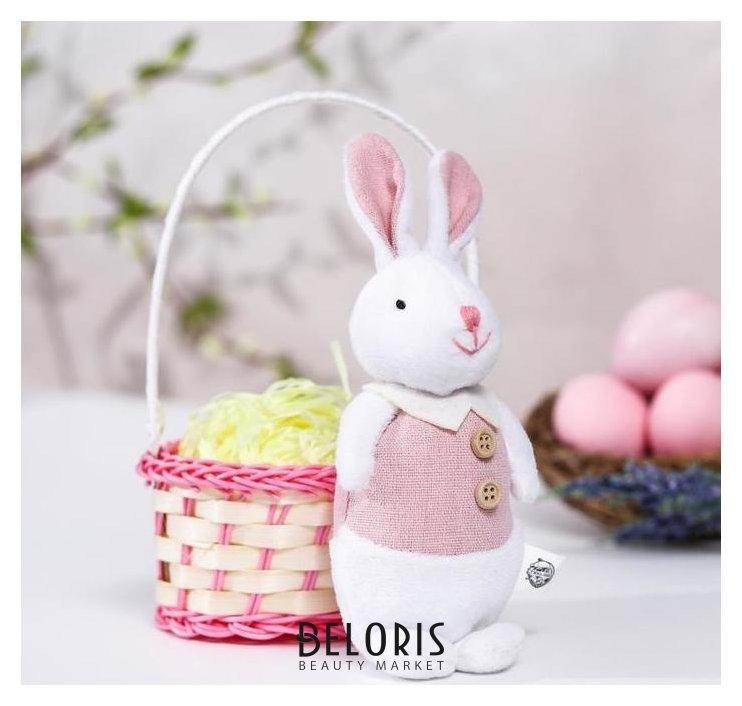 Мягкая игрушка «Зайка в костюме», цвет розовый КНР Игрушки