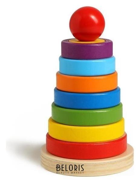 Детская развивающая пирамидка «Разные фигуры» 9,5×9,5×15,5 см NNB