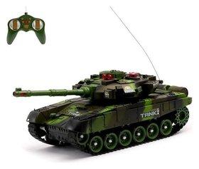 Танк радиоуправляемый «Защитник», с аккумулятором, световые и звуковые эффекты, цвет зелёный