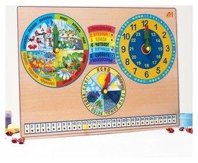 Развивающая доска «Календарь природы. часы»  Деревянные игрушки Динни