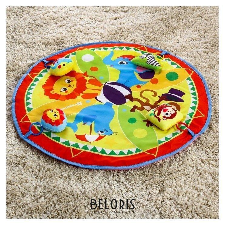 Развивающий коврик «Цирк», 4 мягкие игрушки, D80см Крошка Я