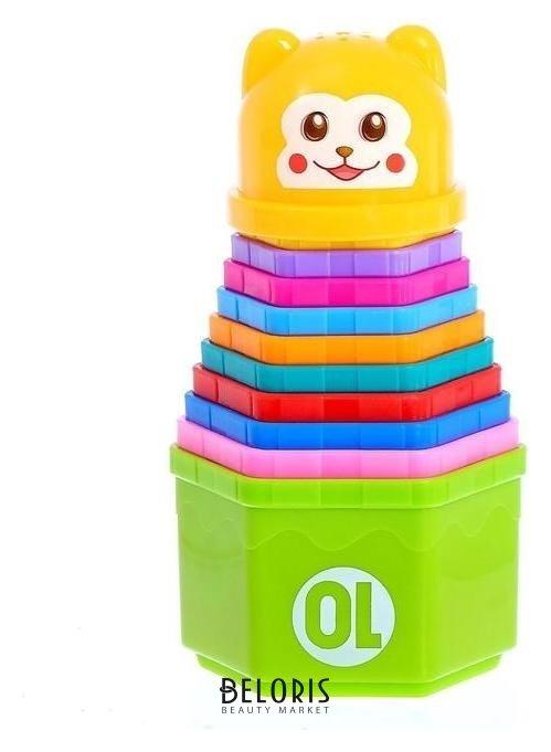 Развивающая игрушка «Пирамидка мишка» стаканчики с буквами и цифрами, 11 предметов NNB