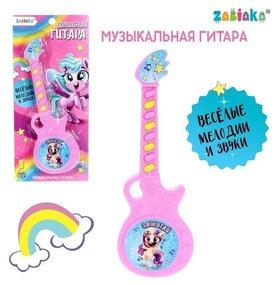 Музыкальная гитара «Весёлые зверята», игрушечная, звук, цвет розовый
