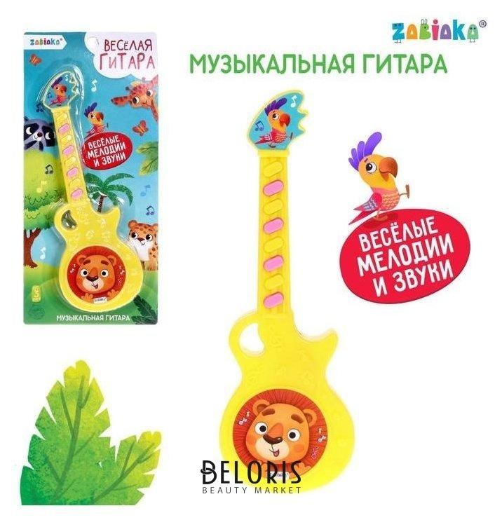 Музыкальная гитара «Весёлые зверята», игрушечная, звук, цвет жёлтый Zabiaka