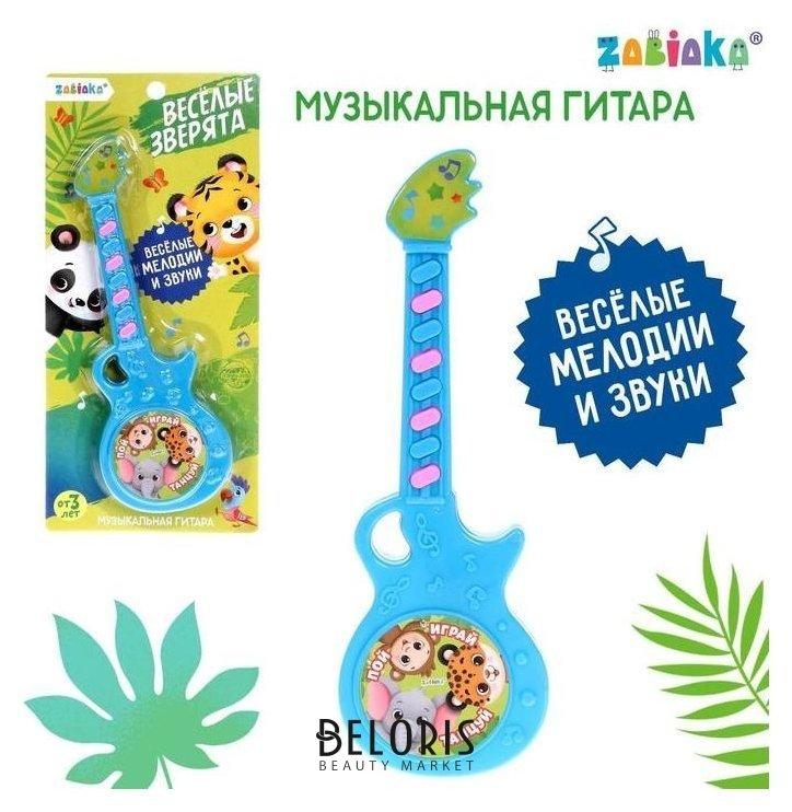 Музыкальная гитара «Весёлые зверята», игрушечная, звук, цвет голубой Zabiaka