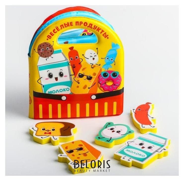 Набор для игры в ванной, книжка непромокашка + игрушки EVA «Весёлые продукты», 6 предметов Крошка Я