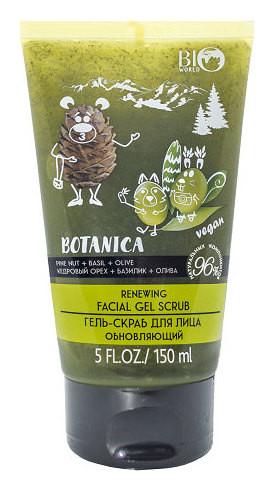 Обновляющий гель-скраб для лица Кедровый орех базилик и олива  Bio World