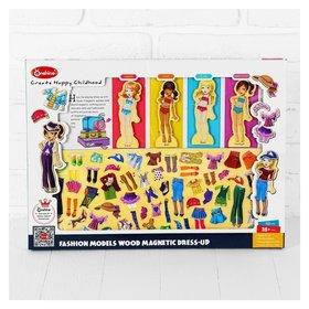 Игра на магнитах «Модные девчонки», 63 элемента одежды + 4 куклы  NNB