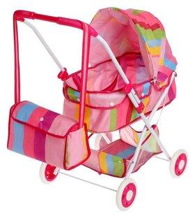 Коляска универсальная для кукол «Радуга» зимняя, с корзиной и сумкой, металлический каркас