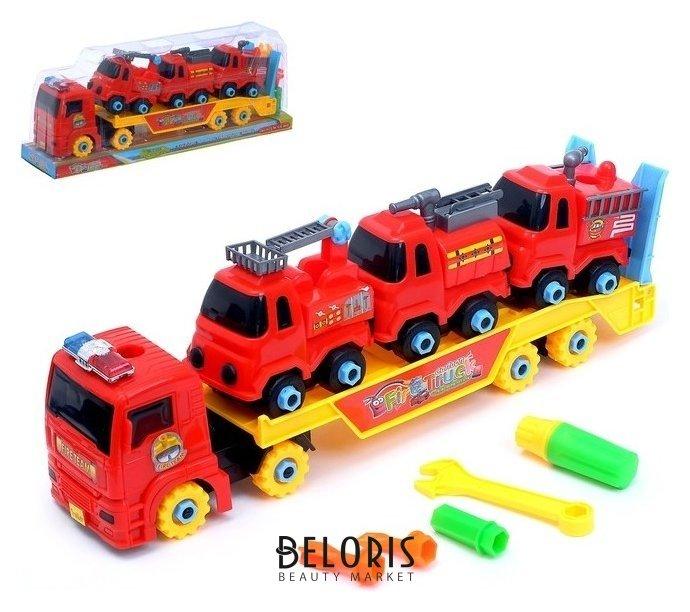 Конструктор винтовой «Пожарный автовоз», с 3 машинками NNB