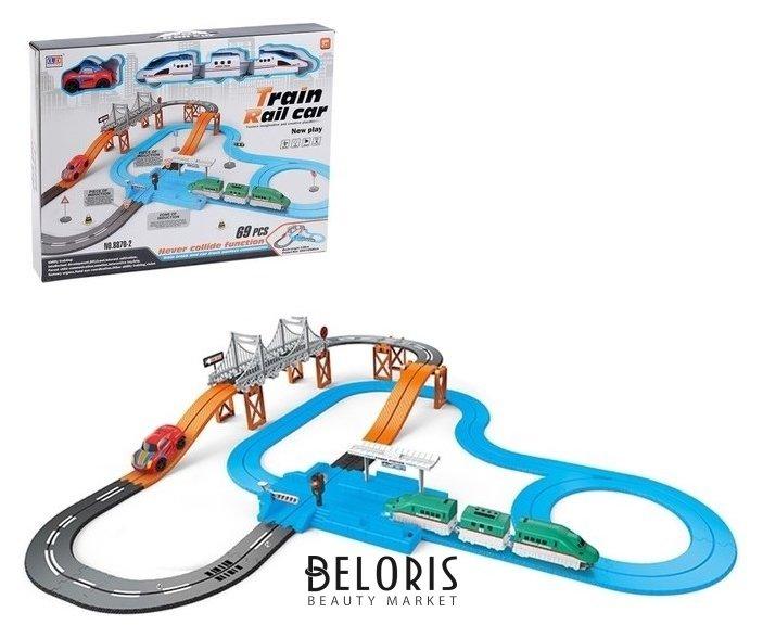 Железная дорога-автотрек «Большое путешествие», с машинкой и поездом, перекресток, светофор NNB