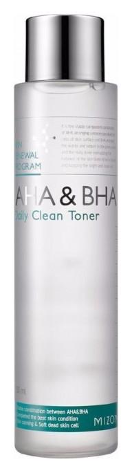 Тонер для лица очищающий с альфа-гидроксильными и салициловой кислотами AHA And BHA Daily Clean Toner  Mizon