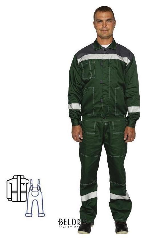 Костюм рабочий летний мужской л20-КПК зеленый/серый с СОП NNB