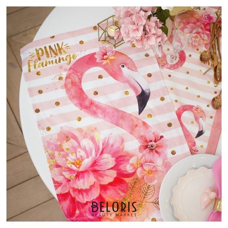 Полотенце Этель Pink Flamingo 40х67 см, 100% хл, саржа 190 гр/м2 Этель