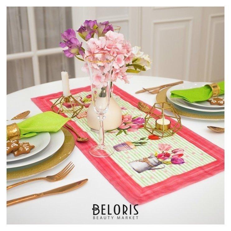 Дорожка на стол Этель тюльпаны 30х70 см, 100% хл, саржа 190 гр/м2 Этель
