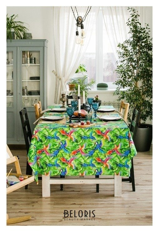 Скатерть этель «Попугай», 110 × 150 см, репс, плотность 130 г/м², хлопок 100 % Этель