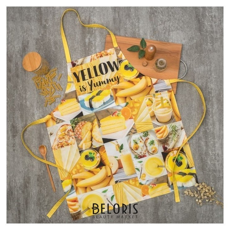 Фартук «Этель: Yellow» 70х60 см, 100% хлопок, саржа 190 гр/м² Этель