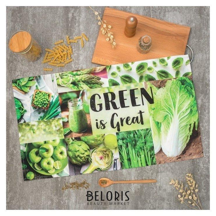 Полотенце Этель Green 40х73 см, 100% хл, саржа 190 гр/м2 Этель