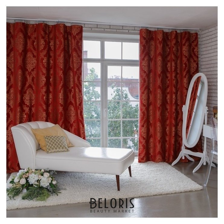Штора портьерная этель «Версаль» 160×270 см, цвет красный, 100% п/э Этель
