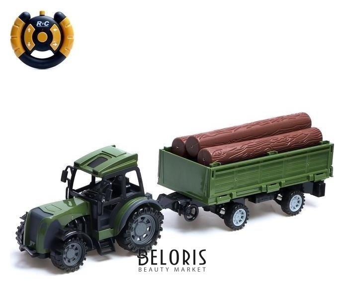 Трактор радиоуправляемый «Фермер» с прицепом, работает от батареек, цвет зелёный NNB