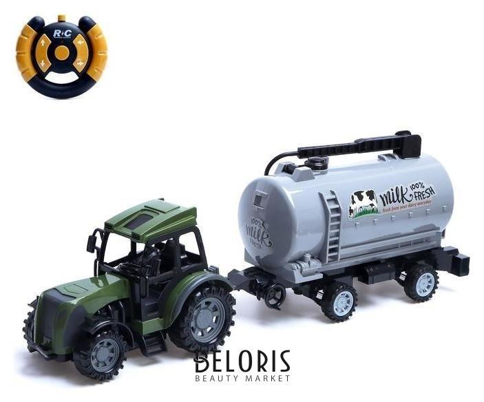 Трактор радиоуправляемый «Фермер» с цистерной, работает от батареек, цвет зелёный NNB