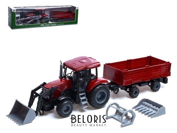 Трактор инерционный «Фермер» с прицепом и сменными ковшами, цвет бордовый NNB