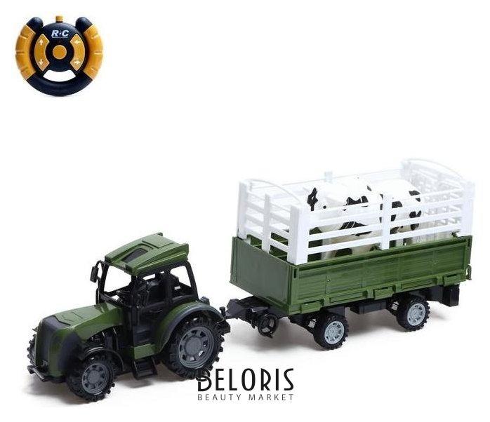 Трактор радиоуправляемый «Фермер», с прицепом и животным, работает от батареек NNB