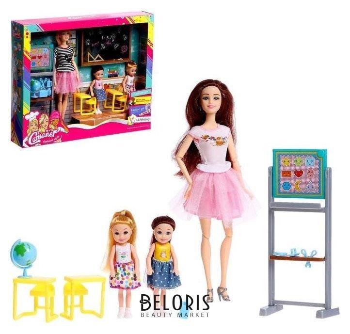 Кукла-модель шарнирная «Первый учитель» с малышами, мебелью и аксессуарами NNB