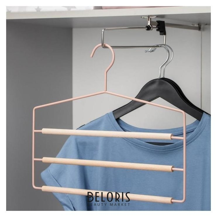 Вешалка для брюк и юбок Savanna Wood, 3 перекладины, 37×32×1,1 см, цвет розовый Savanna