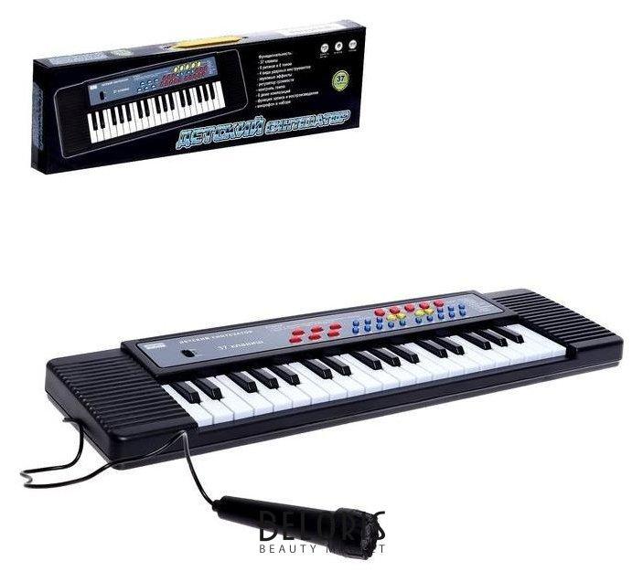 Синтезатор Детский, 37 клавиш, с микрофоном, цвет чёрный Zhorya