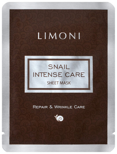 Интенсивная маска для лица с экстрактом секреции улитки Snail Intense Care Sheet Mask  Limoni