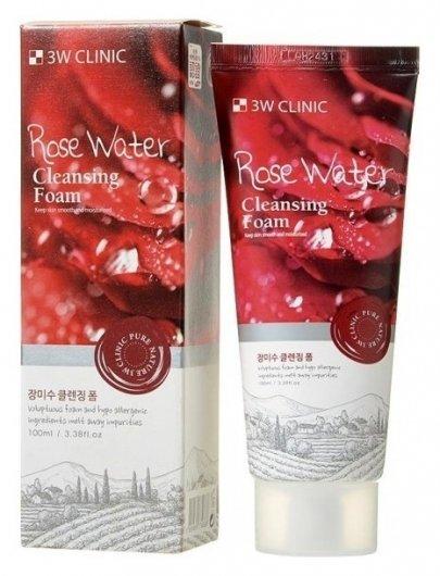 Пенка для умывания натуральная Rose Water  3W CLINIC