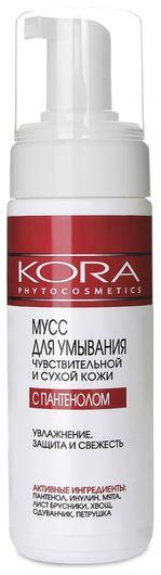 Мусс для умывания чувствительной и сухой кожи с пантенолом  Kora