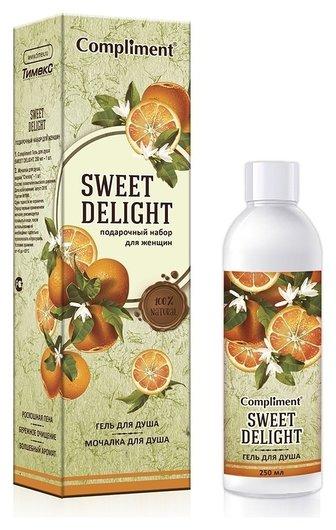 Подарочный набор гель для душа +мочалка Sweet delight  Compliment