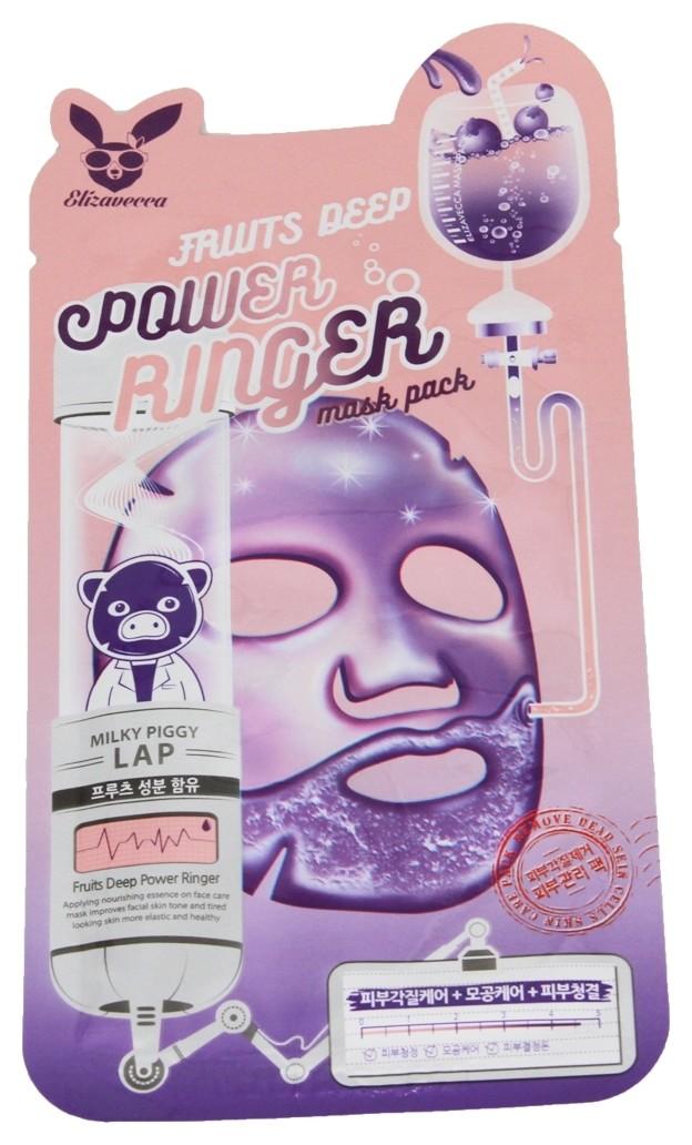 Успокаивающая тканевая маска для лица с фруктовыми экстрактами Fruits Deep Mask Pack Elizavecca Power Ringer