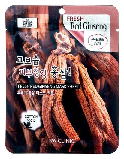 Освежающая тканевая маска для лица с красным женьшенем Fresh Ginseng Mask Sheet  3W CLINIC